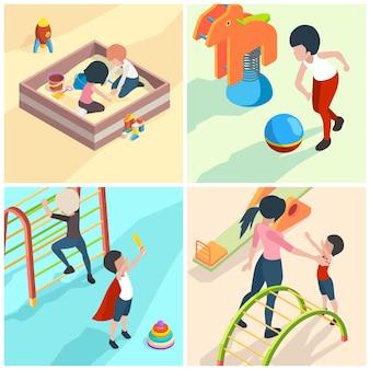 Dzieci w scenach na placu zabaw