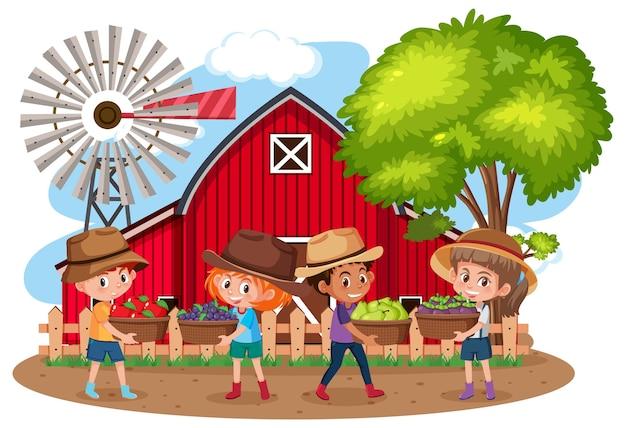 Dzieci w scenie gospodarstwa na białym tle