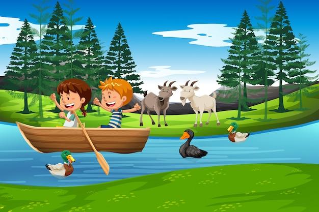 Dzieci w scenie łodzi