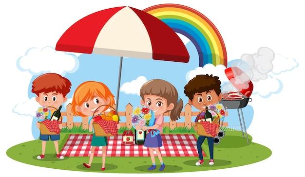 Dzieci w scenie piknikowej na białym tle
