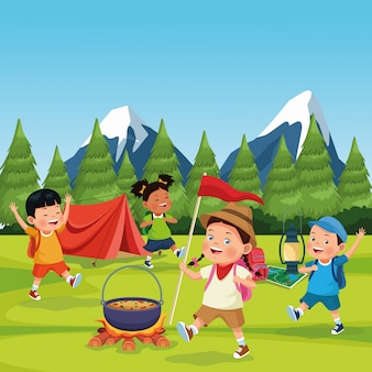 Dzieci w strefie kempingowej