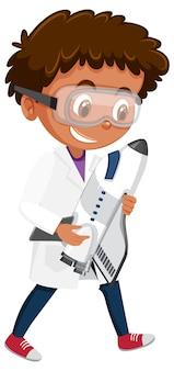 Dzieci w stroju naukowca postać z kreskówki na białym tle