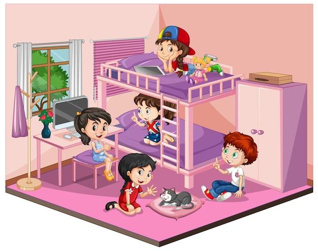 Dzieci w sypialni w różowej scenie tematycznej na białym tle