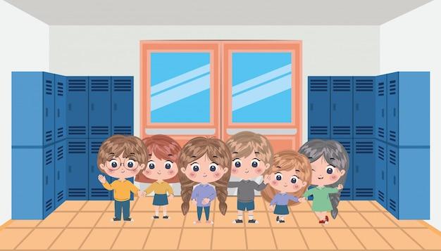 Dzieci w szkole bajki wektor wzór