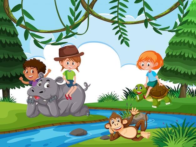 Dzieci w tle przyrody