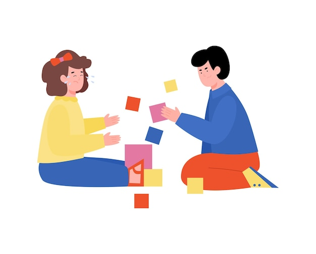 Dzieci w wieku przedszkolnym bawiące się zabawkami klocki płaskie wektor ilustracja na białym tle