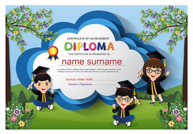Dzieci w wieku przedszkolnym dyplom certyfikat szablon tło projektu. ilustracja wektorowa
