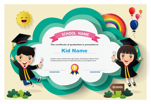Dzieci w wieku przedszkolnym dyplom szablon tło certyfikat