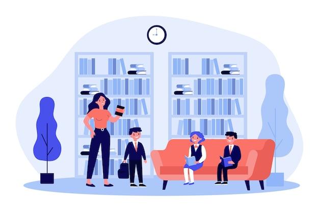 Dzieci w wieku szkolnym, czytanie książek w bibliotece. kobieta bibliotekarz, regały, ilustracja uczniów. edukacja, literatura, koncepcja wiedzy na baner, stronę internetową lub stronę docelową