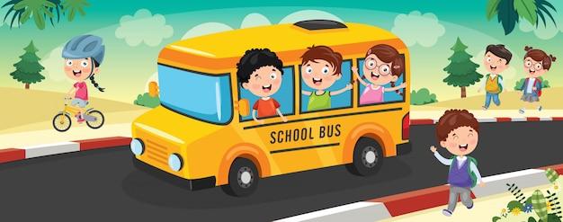 Dzieci w wieku szkolnym jadą autobusem do szkoły