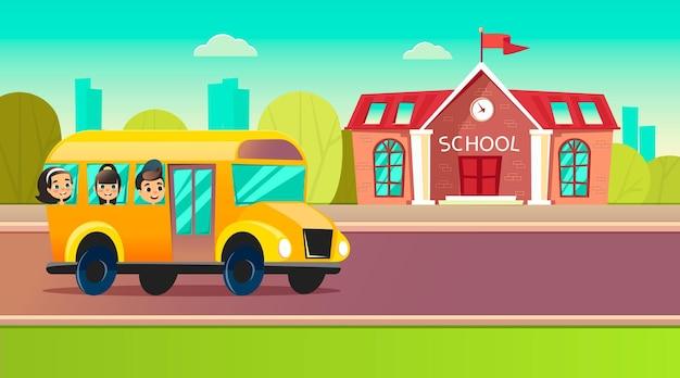 Dzieci w wieku szkolnym jadą szkolnym autobusem