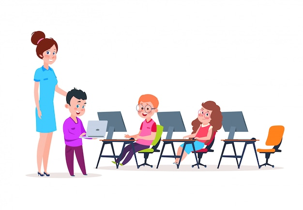 Dzieci w wieku szkolnym kodujące się przy komputerach. chłopcy i dziewczęta z kreskówek uczący się nowych technologii.