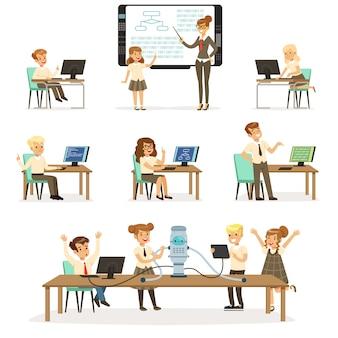 Dzieci w wieku szkolnym na lekcjach informatyki i programowania, nauczyciel prowadzący lekcje w klasie, dzieci pracujące przy komputerach, uczące się robotyki i programowania ilustracje