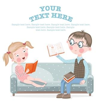 Dzieci w wieku szkolnym odrabiania lekcji, siedząc na kanapie.