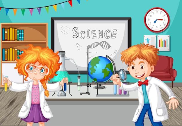 Dzieci w wieku szkolnym robią eksperyment chemiczny w klasie