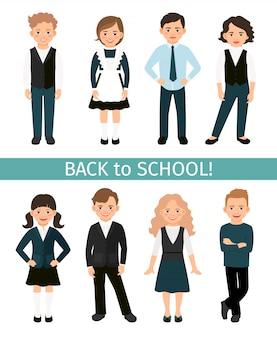 Dzieci w wieku szkolnym ustawić ilustracji wektorowych. podstawowi uczniowie dzieci w mundurze na białym tle