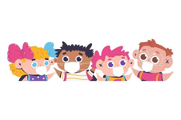 Dzieci w wieku szkolnym w masce na białym tle