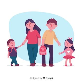 Dzieci w wieku szkolnym z tłem rodziców