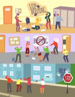 Dzieci w wieku szkolnym zastraszanie ilustracje, kreskówka zły chłopak dziewczyna nastolatka drwi z niezadowolonego kolegi ze szkoły, zatrzymać zestaw problemu łobuz