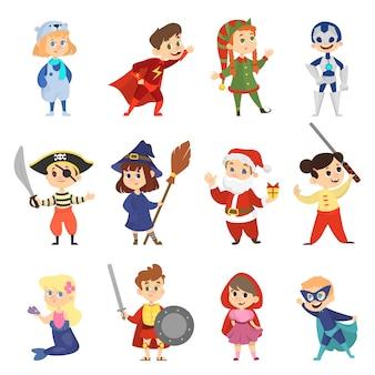 Dzieci w zestawie kostiumów karnawałowych na halloween. kolekcja chłopca i dziewczyny w stroju partii. superbohater i syrenka. ilustracja w stylu kreskówki