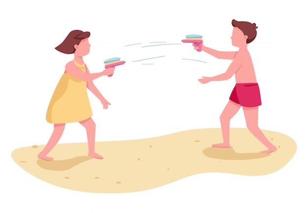 Dzieci walczące z pistoletami na wodę płaskich kolorów wektorowych postaci bez twarzy. aktywność na plaży dla dzieci. chłopiec i dziewczyny lata rozrywki kreskówki odosobniona ilustracja