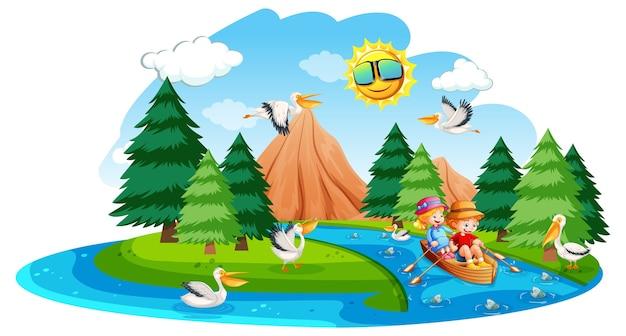 Dzieci wiosłują łodzią w scenie lasu strumienia na białym tle