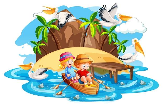 Dzieci wiosłują łodzią w scenie plaży strumienia na białym tle