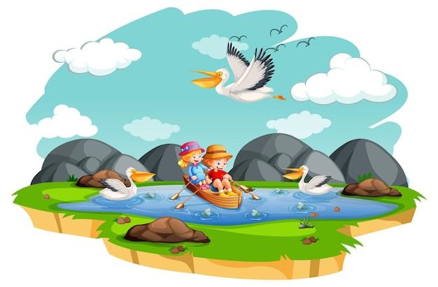 Dzieci wiosłują łodzią w scenie strumień na białym tle