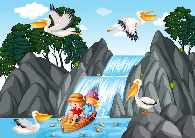 Dzieci wiosłują łodzią w scenie wodospadu
