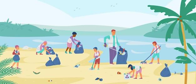 Dzieci wolontariusze zbierający śmieci na plaży mężczyzna z dziećmi sprzątającymi wybrzeże