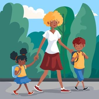 Dzieci wracają do szkoły z rodzicami