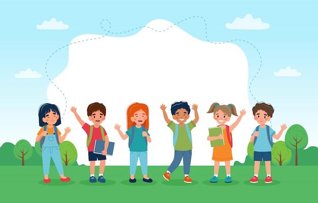 Dzieci wracają do szkoły, zestaw uroczych postaci i miejsca na kopię.