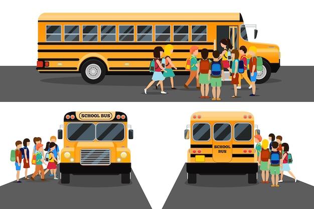 Dzieci wsiadają do autobusu szkolnego. transport ucznia lub studenta, transport i samochód.
