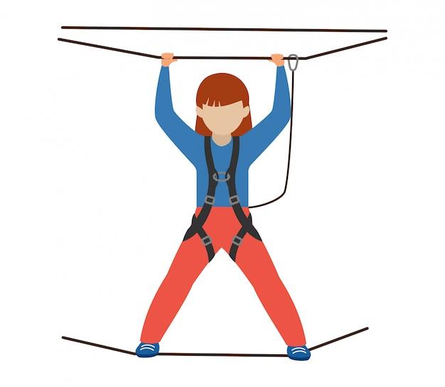 Dzieci wspinaczka wspinacz dzieci charakter wspina się rock górska ściana lub górzysty klif ilustracja alpinizm zestaw dziecka w sport ekstremalny alpinista na białym tle