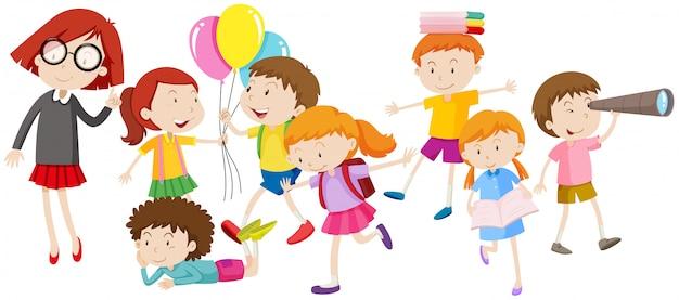 Dzieci wykonujące różne czynności