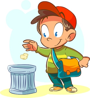 Dzieci wyrzucaj śmieci na swoje miejsce