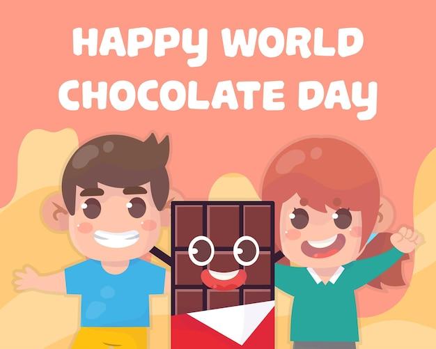 Dzieci z czekoladą. ilustracja koncepcja dnia czekolady