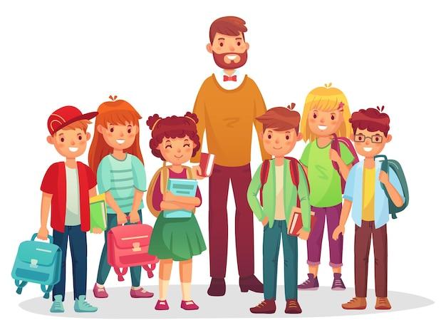 Dzieci z gimnazjum i nauczyciel