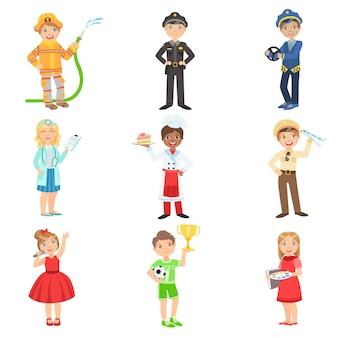 Dzieci z ich przyszłymi atrybutami zawodów