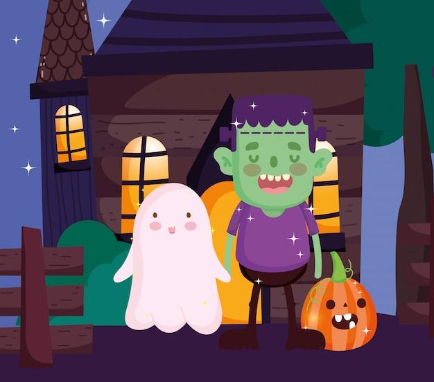 Dzieci z kostiumem halloween