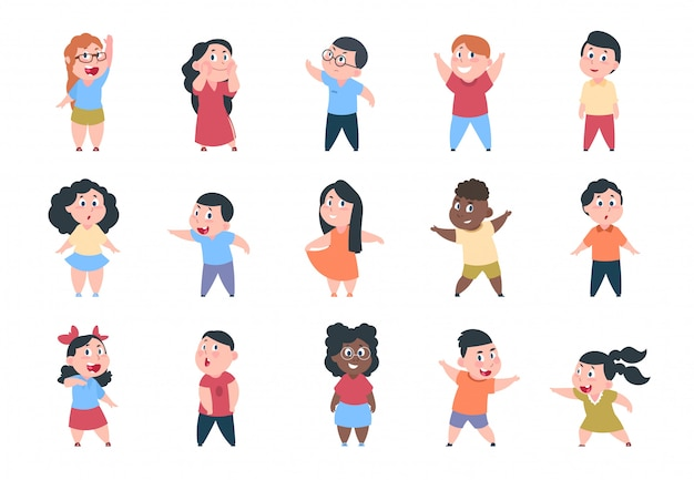 Dzieci z kreskówek. chłopiec i dziewczynka w szkole znaków, zestaw szczęśliwe małe dziecko, grupa szkoły podstawowej.