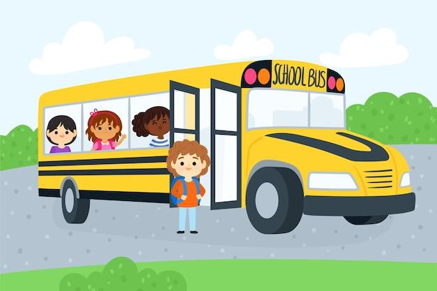 Dzieci z kreskówek z powrotem do szkoły