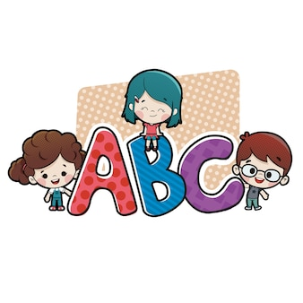 Dzieci z literami abc