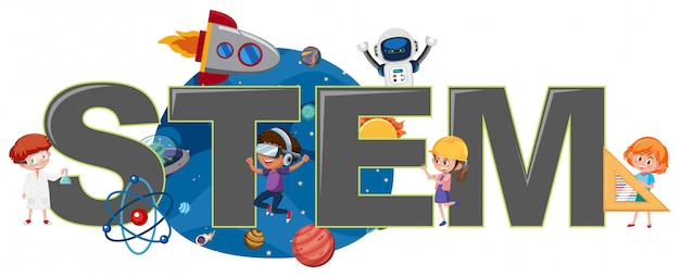 Dzieci z logo stem
