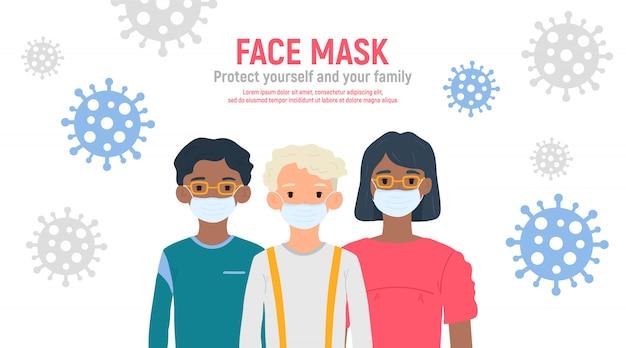 Dzieci z maskami medycznymi na twarzach w celu ochrony przed koronawirusem covid-19, 2019-ncov na białym tle. koncepcja ochrony przed wirusami dla dzieci. bądź bezpieczny. ilustracja