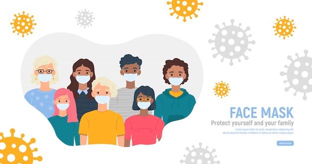 Dzieci z maskami medycznymi na twarzach w celu ochrony przed koronawirusem covid-19, 2019-ncov na białym tle. koncepcja ochrony przed wirusami dla dzieci. bądź bezpieczny.