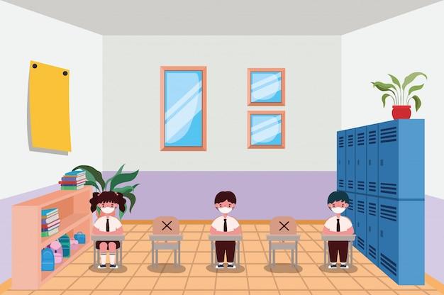 Dzieci z maskami w klasie