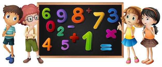 Dzieci z numerami na tablicy