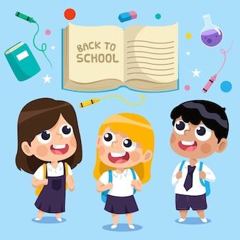 Dzieci z powrotem do szkoły ilustracji