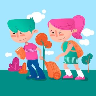 Dzieci z powrotem do szkoły ręcznie rysowane ilustracji